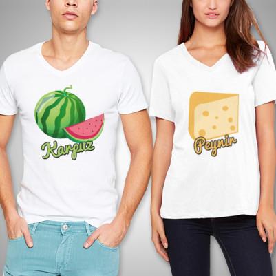 - Karpuz ve Peynir İkilisi Sevgili Tişörtleri