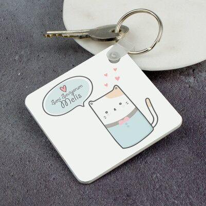 Kedicik Tasarımlı Sevgili Anahtarlığı - Thumbnail