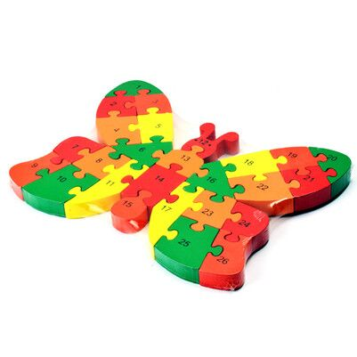 - Kelebek Şeklinde Rakamlı Ahşap Puzzle