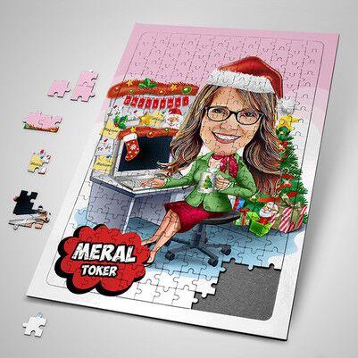 - Keyifli Yeni Yıl Bayana Özel Karikatürlü Puzzle