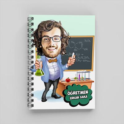 Kimya Öğretmeni Karikatürlü Defter - Thumbnail
