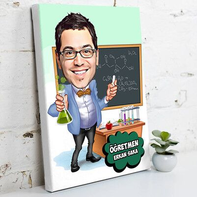 - Kimya Öğretmeni Karikatürlü Kanvas Tablo