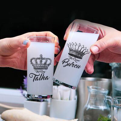 - King And Queen İsimli 2li Rakı Bardağı