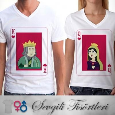 - King And Queen Sevgili Tişörtleri