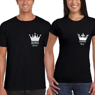 - King And Queen Siyah Sevgili Tişörtleri
