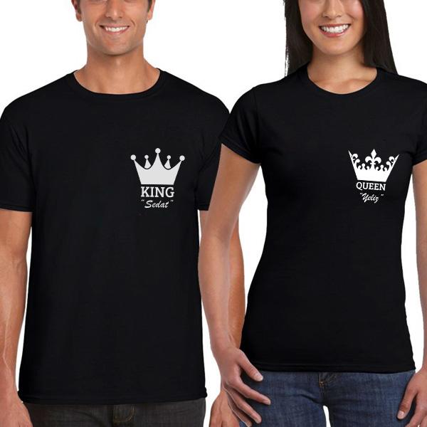 King And Queen Siyah Sevgili Tişörtleri
