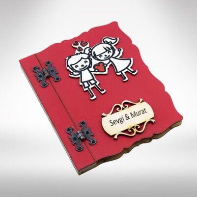 Kırmızı Ahşap Kapaklı Sevgili Defteri - Thumbnail