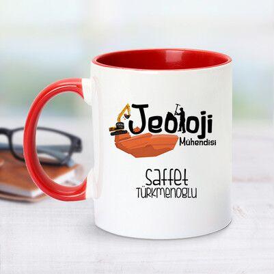 - Kırmızı Kupa Bardak Jeoloji Mühendislerine Özel