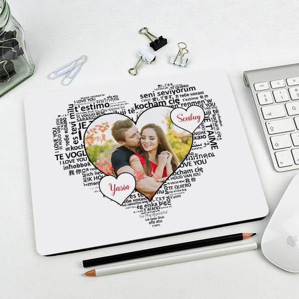 Kişiye Özel 100 Dilde Seni Seviyorum Mousepad