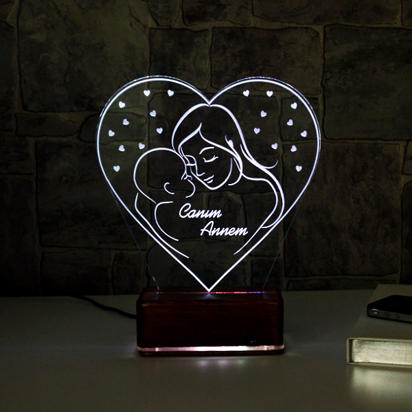 Anne ve Bebeği 3D LED Lamba