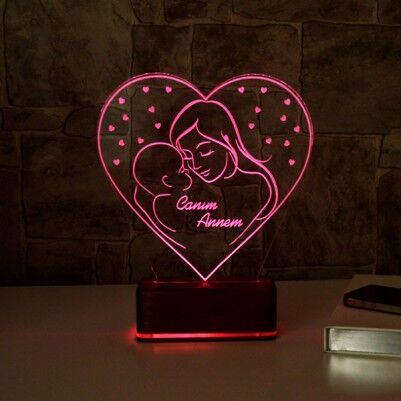 Anne ve Bebeği 3D LED Lamba - Thumbnail