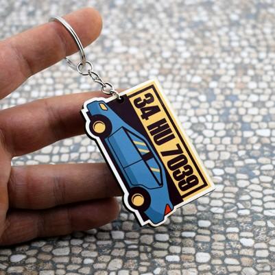 Kişiye Özel Araba İkonlu Plakalı Anahtarlık - Thumbnail