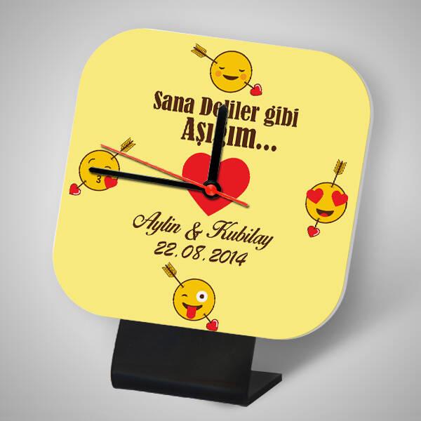 Kişiye Özel Aşık Emoji Kare Masa Saati