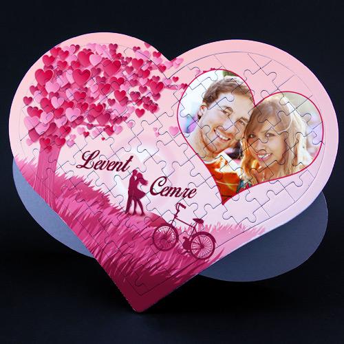 Kişiye Özel Aşk Ağacı Kalp Puzzle