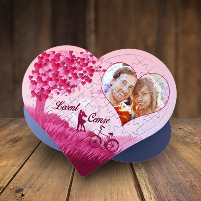- Kişiye Özel Aşk Ağacı Kalp Puzzle