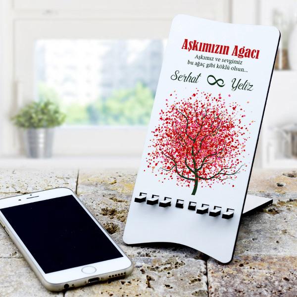 Kişiye Özel Aşk Ağacı Telefon tutucu