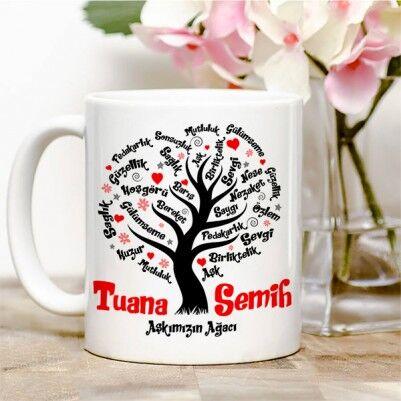 - Kişiye Özel Aşk Ağacımız Kupa Bardak