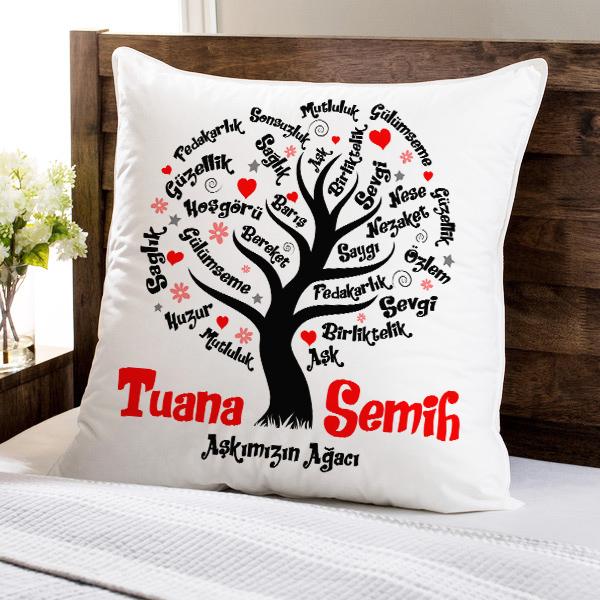 Kişiye Özel Aşk Ağacımız Yastık