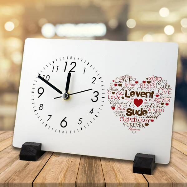 Kişiye Özel Aşk Dolu Masa Saati