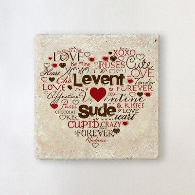 - Kişiye Özel Aşk Dolu Taş Bardak Altlığı