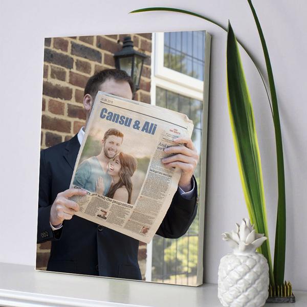 Kişiye Özel Aşkımız Gazetelerde Kanvas Tablo