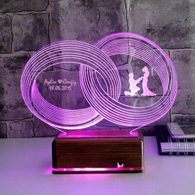 - Kişiye Özel Aşkımızın Yüzükleri 3D Led Lamba