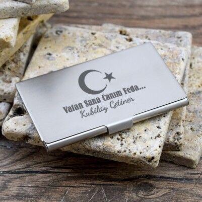 Kişiye Özel Ay Yıldızlı Metal Kartlık - Thumbnail
