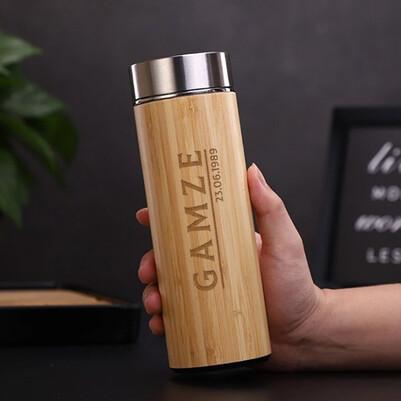 - Kişiye Özel Bambu Gövde Çelik Termos