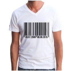 - Kişiye Özel Barkod Tasarımlı Erkek Tişörtü