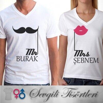 Kişiye Özel Bay ve Bayan 2'li Tişört - Thumbnail