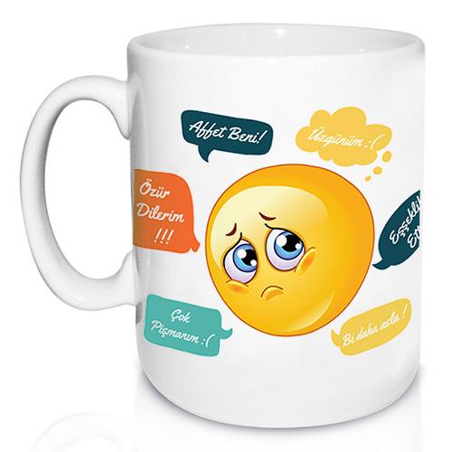 Kişiye Özel Beni Affet Emoji Kupa Bardak