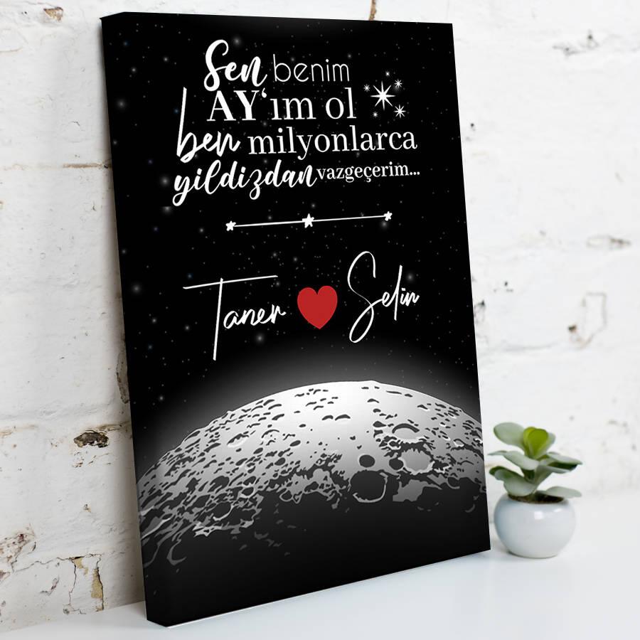 Kişiye Özel Benim Ay'ım Ol Kanvas Tablo