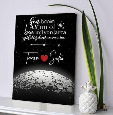 Kişiye Özel Benim Ay'ım Ol Kanvas Tablo - Thumbnail