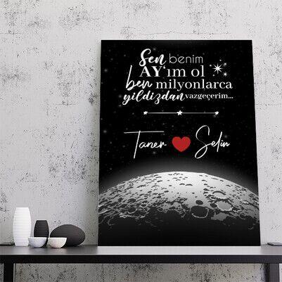 - Kişiye Özel Benim Ay'ım Ol Kanvas Tablo