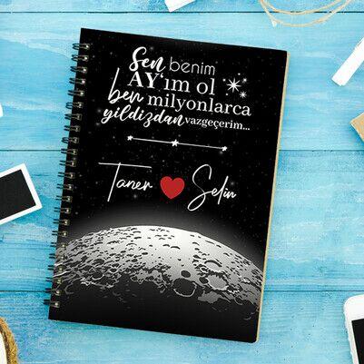 Kişiye Özel Benim Ay'ım Ol Sevgili Defteri - Thumbnail