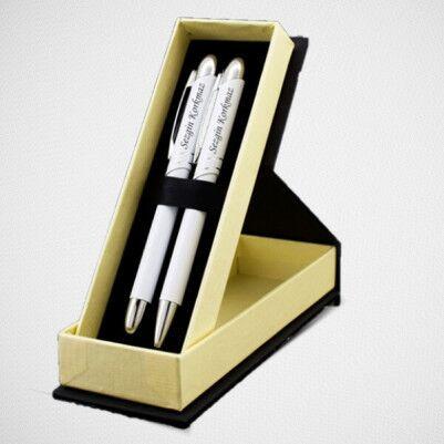 Kişiye Özel Beyaz İkili Kalem Seti - Thumbnail