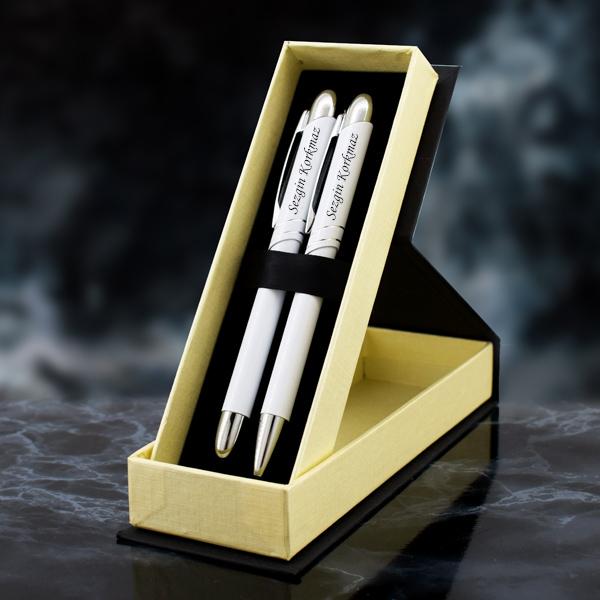 Kişiye Özel Beyaz İkili Kalem Seti