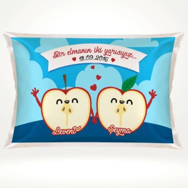 Kişiye Özel Bir Elmanın İki Yarısı Yastık