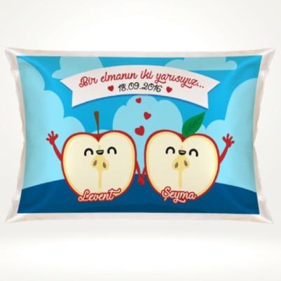 - Kişiye Özel Bir Elmanın İki Yarısı Yastık