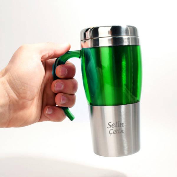 Kişiye Özel Çelik Yeşil Renk Termos