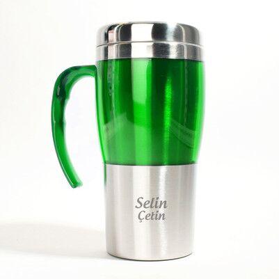 Kişiye Özel Çelik Yeşil Renk Termos - Thumbnail