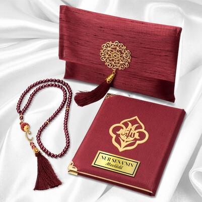 Kişiye Özel Dualar Kitabı Hediye Seti - Kırmızı - Thumbnail