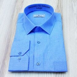 Kişiye Özel Erkek Gömlek Mavi - Thumbnail