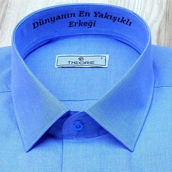 Kişiye Özel Erkek Gömlek Mavi