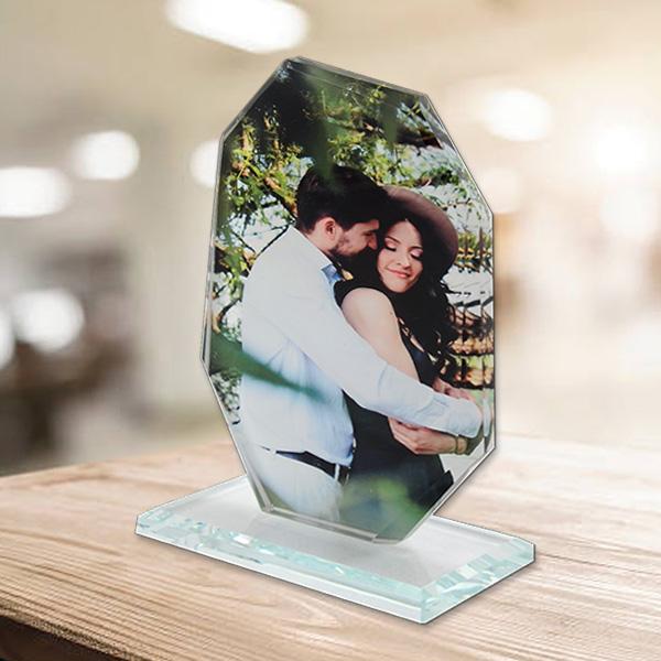 Kişiye Özel Fotoğraflı Dikey Kristal Cam