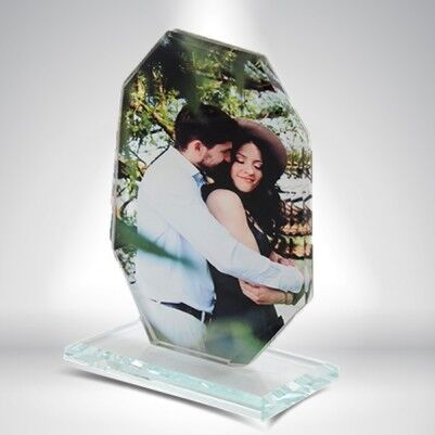 Kişiye Özel Fotoğraflı Dikey Kristal Cam - Thumbnail