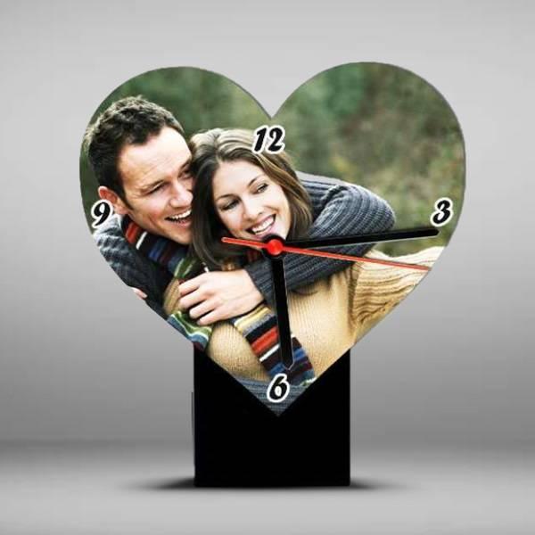 Kişiye Özel Fotoğraflı Kalp Masa Saati
