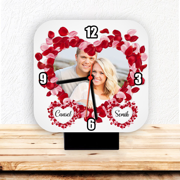 Kişiye Özel Fotoğraflı Romantik Masa Saati