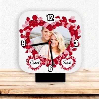 - Kişiye Özel Fotoğraflı Romantik Masa Saati