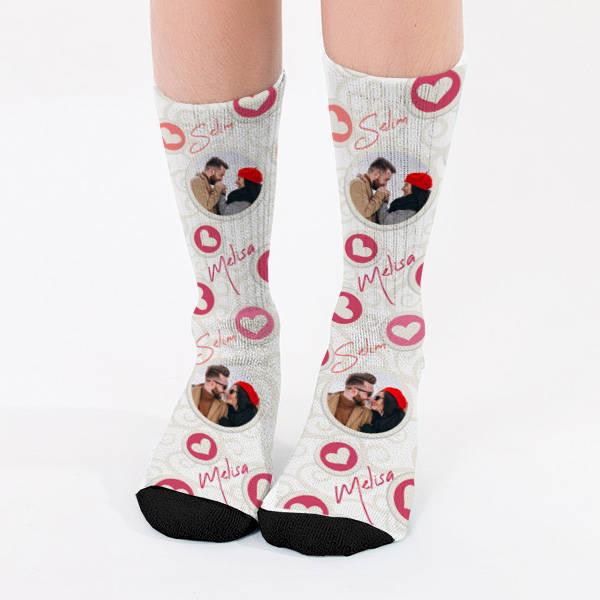 Kişiye Özel Fotoğraflı Sevgili Çorabı